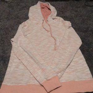 lace peach hooded sweatshirt